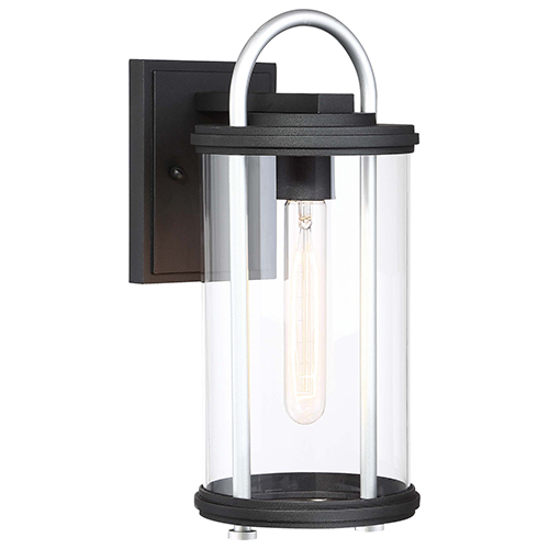 Keyser Black and Silver 14-Inch One-Light Outdoor Wall Lantern
