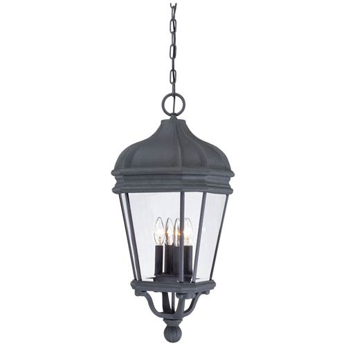 Harrison Black Four-Light Outdoor Pendant with Clear Beveled Glass