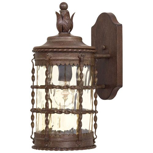 Minka-Lavery Mallorca Vintage Rust One-Light Outdoor Wall Mount with Champagne Hammered Glass