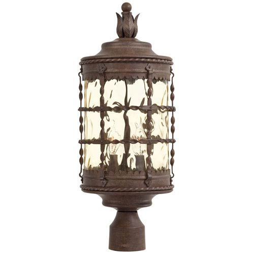 Mallorca Vintage Rust Three-Light Outdoor Post Mount with Champagne Hammered Glass