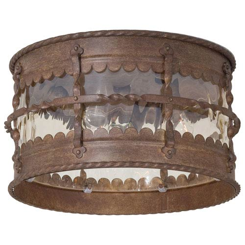 Minka-Lavery Mallorca Vintage Rust Three-Light Flush Mount Light