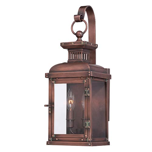 Copperton Manhattan Copper 6.75-Inch Wide Two-Light Outdoor Wall Mount