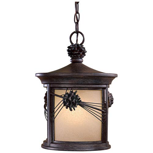 Abbey Lane Iron Oxide One-Light Outdoor Hanging Fixture with Double French Scavo Glass