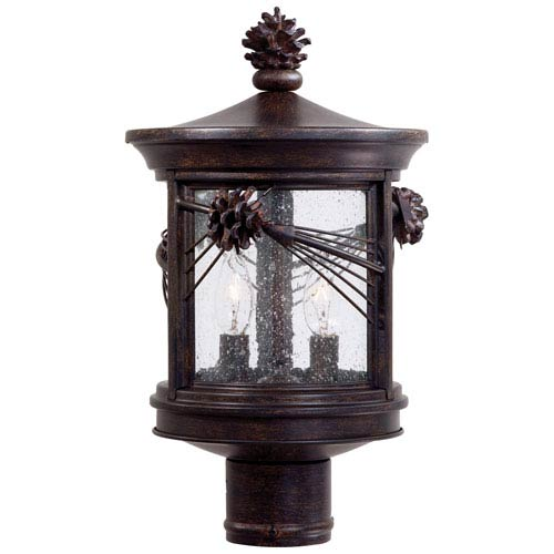 Rustic lodge outdoor post lighting free shipping bellacor abbey lane outdoor post mounted lantern aloadofball Images