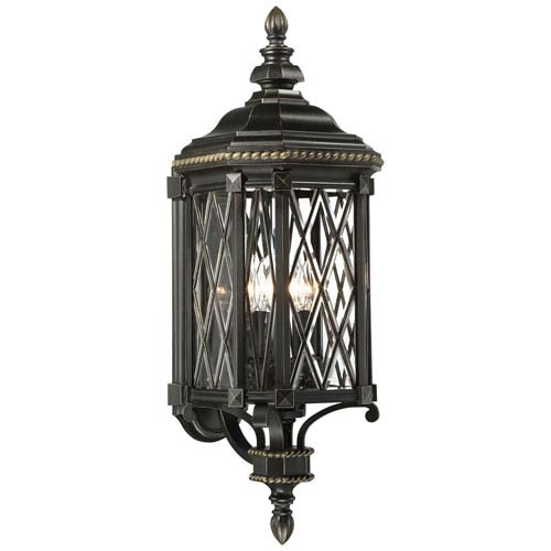 Bexley Manor Black with Gold Highlights Four-Light Outdoor Lantern