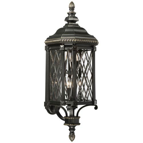 Bexley Manor Black with Gold Highlights Six-Light Outdoor Wall Mount