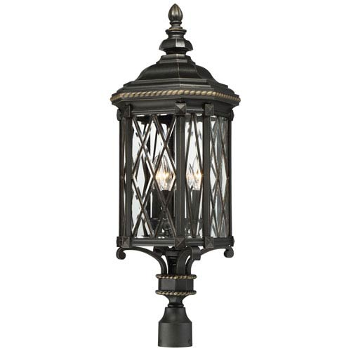 Bexley Manor Black with Gold Highlights Four-Light Post Mount