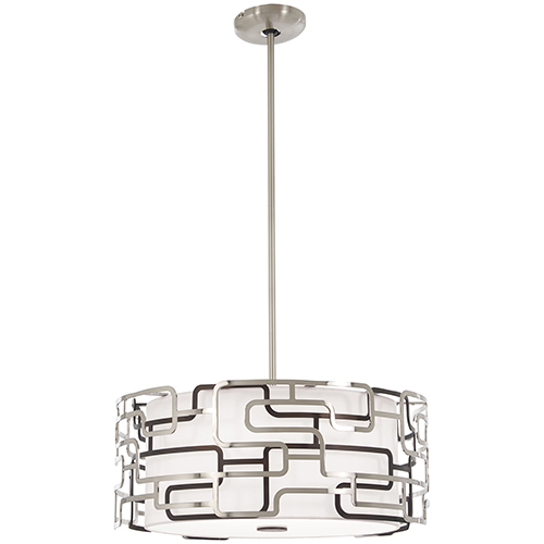 Alecias Tiers Brushed Nickel and Bronze Patina 20-Inch LED Pendant