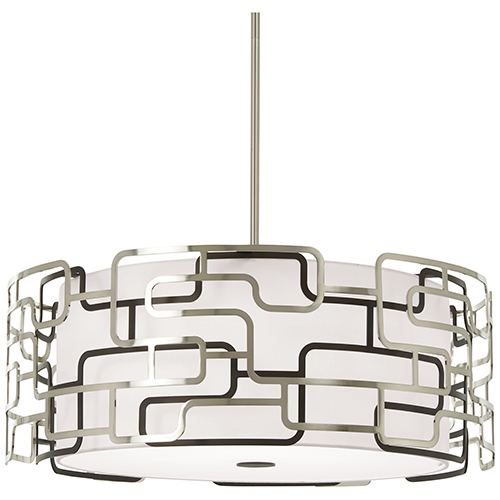 Alecias Tiers Brushed Nickel and Bronze Patina 25-Inch LED Pendant