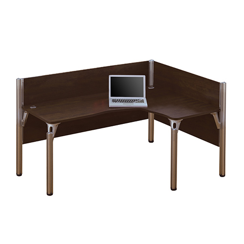 Bestar Pro Biz Chocolate 43 Inch High Single Right L Desk Workstation