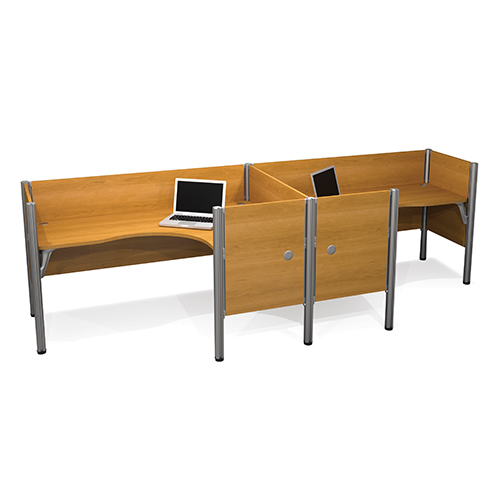 Bestar Pro-Biz Cappuccino Cherry Double Side-by-Side L-Desk Workstation with Melamine Privacy Panels