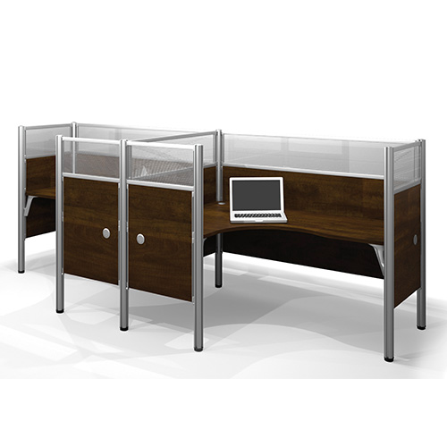 Bestar Pro-Biz Chocolate Double Side-by-Side L-Desk Workstation with Melamine and Acrylic Glass Privacy Panel