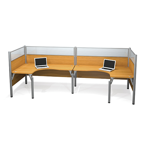 Bestar Pro-Biz Cappuccino Cherry 55.5-Inch High Double Back to Back L-Desk Workstation with Melamine and Acrylic Glass