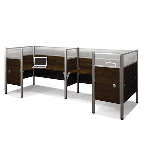 Bestar Pro-Biz Chocolate Double Back to Back L-Desk Workstation with Melamine and Acrylic Glass Privacy Panel