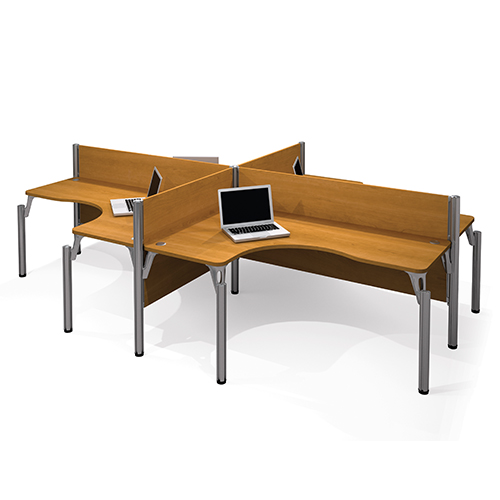 Bestar Pro-Biz Cappuccino Cherry 43-Inch High Four L-Desk Workstation