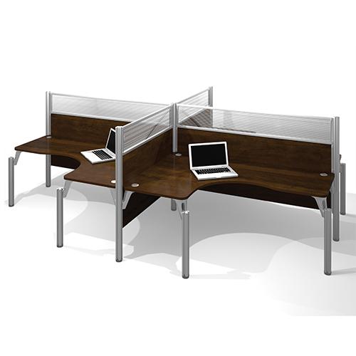 Pro-Biz Chocolate 55.5-Inch High Four L-Desk Workstation