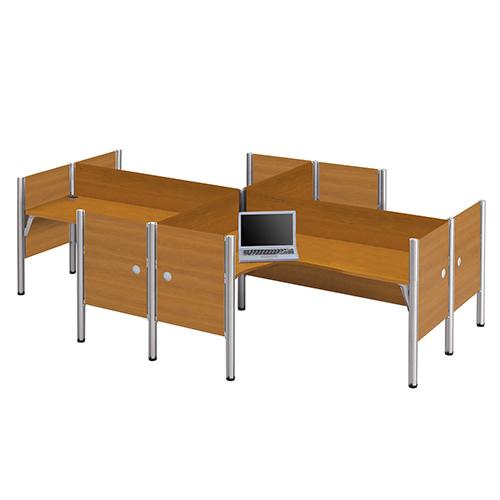 Bestar Pro-Biz Cappuccino Cherry Four L-Desk Workstation with Melamine Privacy Panel