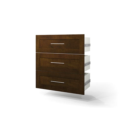 Bestar Pur Chocolate Three Drawer Set for 36-Inch Storage Unit