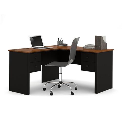 Somerville Tuscany Brown and Black L-Shaped Desk
