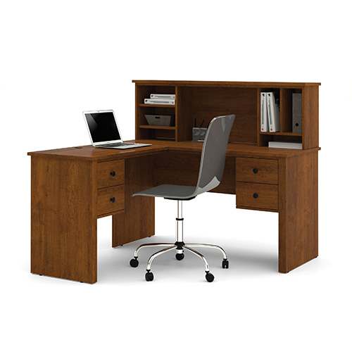 Bestar Somerville Tuscany Brown L-Shaped Desk with Hutch