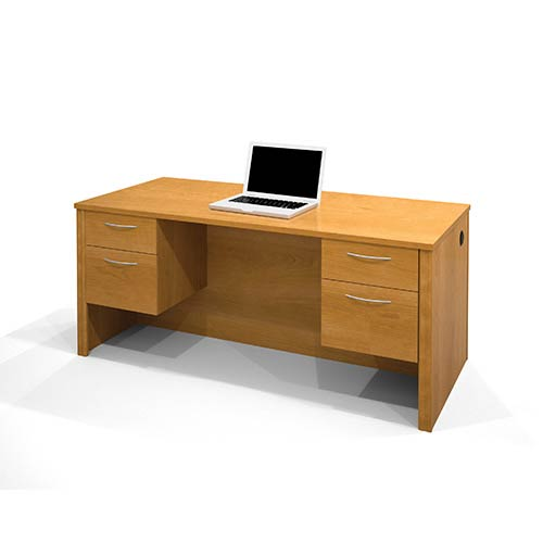 Bestar Embassy Cappuccino Cherry Executive Desk with Dual Half Pedestals