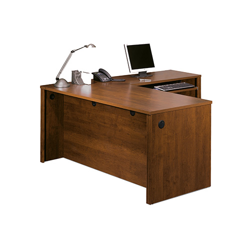 Bestar Embassy Tuscany Brown 79 4 Inch Wide L Shaped Workstation Kit With Two Utility
