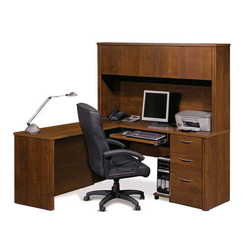 Bestar Embassy Tuscany Brown 70-Inch Wide L-Shaped Workstation Kit