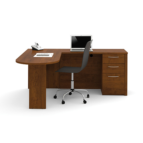 Bestar Embassy Tuscany Brown 73.6-Inch Wide L-Shaped Workstation Kit with Two Utility and One File Drawer