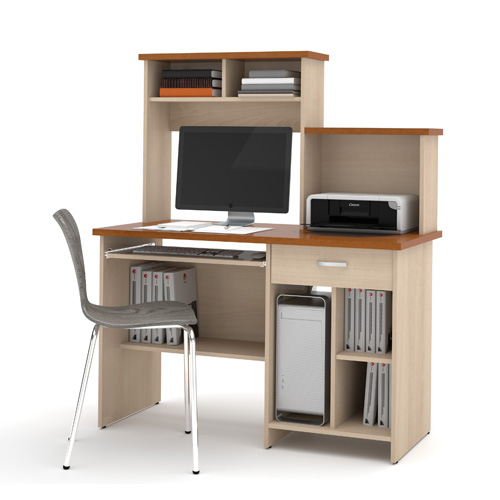Bestar Copper Cherry and Northern Maple Active Computer Work Station