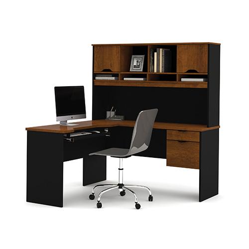 Bestar Innova Tuscany Brown and Black L-Shaped Desk