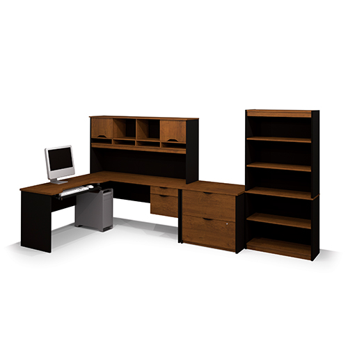 Bestar Innova Tuscany Brown and Black L-Shaped Workstation Kit with Accessories