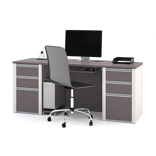 Bestar Connexion Slate and Sandstone Executive Desk Kit