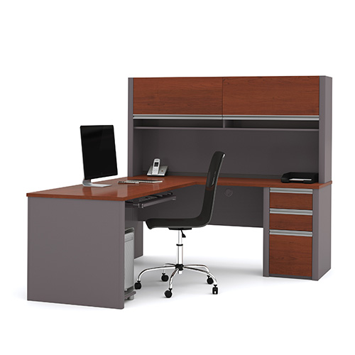 Bestar Connexion Bordeaux and Slate L-Shaped Workstation Kit with Hutch