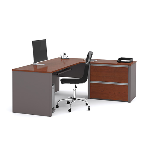 Bestar Connexion Bordeaux And Slate L Shaped Workstation Kit With Two File Drawers