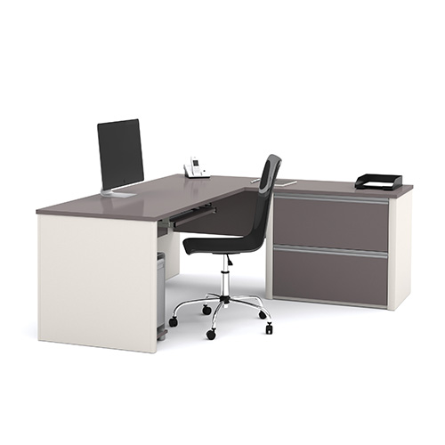 Connexion Slate and Sandstone L-Shaped Workstation Kit with Two File Drawers