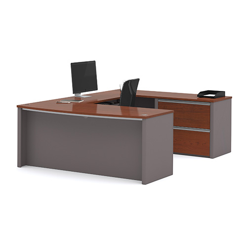 Connexion Bordeaux and Slate U-Shaped Workstation Kit with Two File Drawers