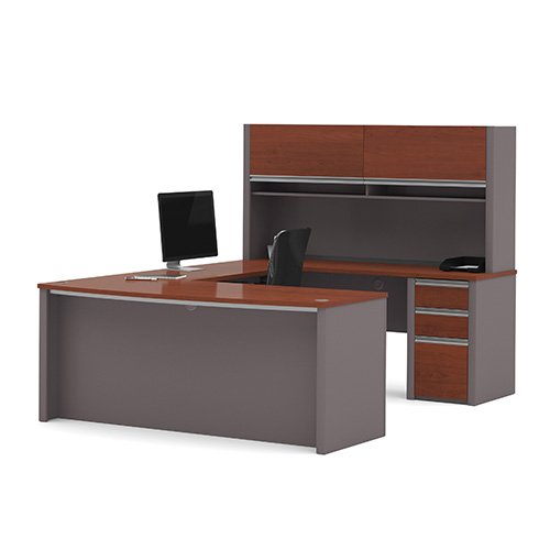 Bestar Connexion Bordeaux and Slate 65.9-Inch High U-Shaped Workstation Kit