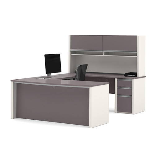 Bestar Connexion Slate and Sandstone 65.9-Inch High U-Shaped Workstation Kit with Two Utility and One File Drawer