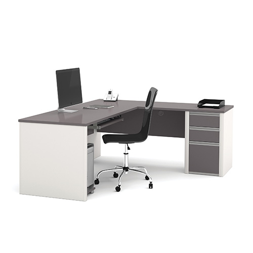 Connexion Slate and Sandstone L-Shaped Workstation Kit with Two Utility and One File Drawer