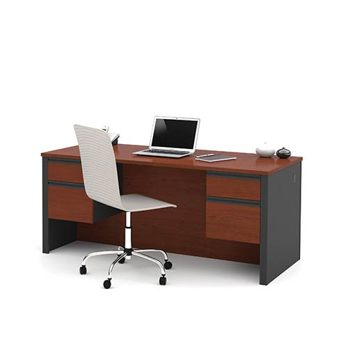 Prestige Plus Bordeaux and Graphite Executive Desk with Dual Half Pedestals