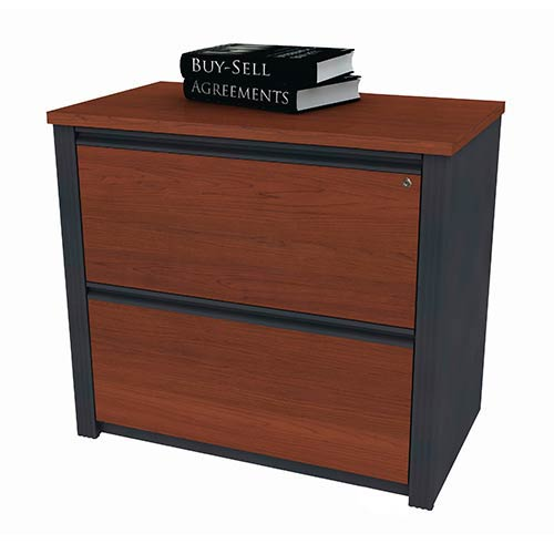 Bestar Prestige Plus Bordeaux And Graphite 36 Inch Length Embled Lateral File Cabinet