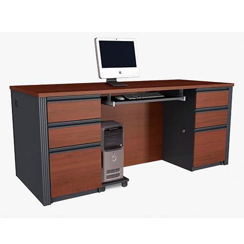 Bestar Prestige Plus Bordeaux And Graphite Executive Desk Kit