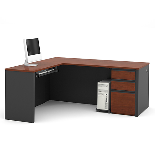 Prestige Plus Bordeaux and Graphite L-Shaped Workstation Kit with Two Utility and One File Drawer