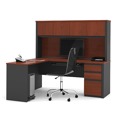 Prestige Plus Bordeaux and Graphite L-Shaped Workstation Kit with Single Pedestal