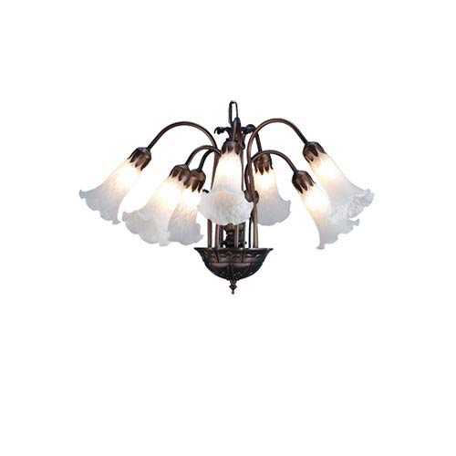 Seven-Light Large White Lily Chandelier