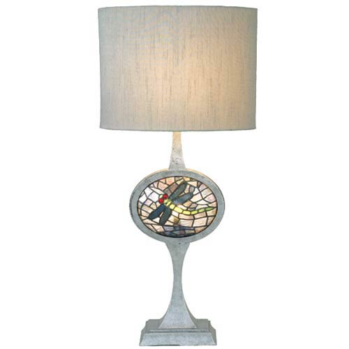 Meyda Tiffany Cameo Dragonfly Lighted Base Nickel Table Lamp 12569