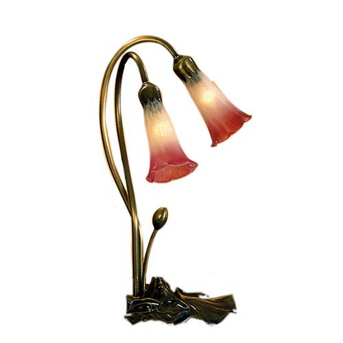 Meyda Tiffany Two Light Lily Pink White Accent Lamp