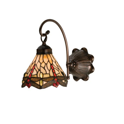 7-Inch Tiffany Scarlet Dragonfly One-Light Wall Sconce