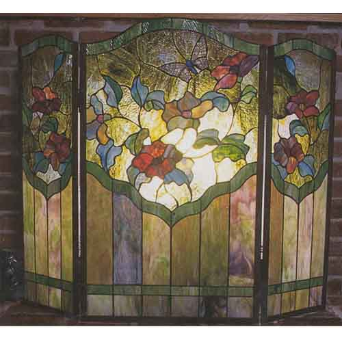 Tiffany  Floral Fireplace Screen
