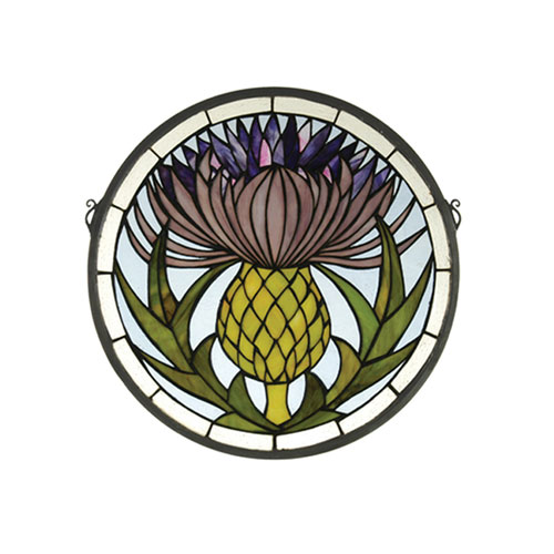 Thistle Medallion Stained Glass Window